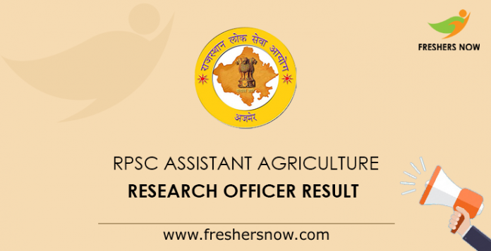 RPSC Assistant Agriculture Research Officer Result