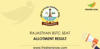 Rajasthan BSTC Seat Allotment Result