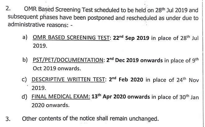 Revised Exam Date