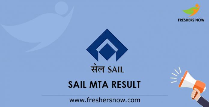 SAIL MTA Result 2019 (Released) | Cut Off Marks, Merit List