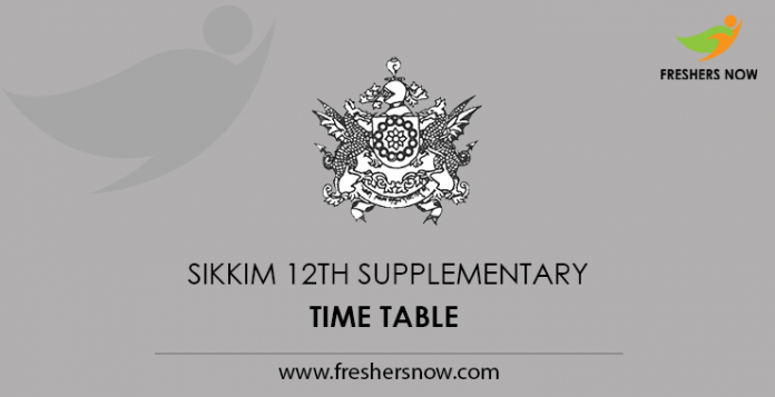 Sikkim 12th Supplementary Time Table