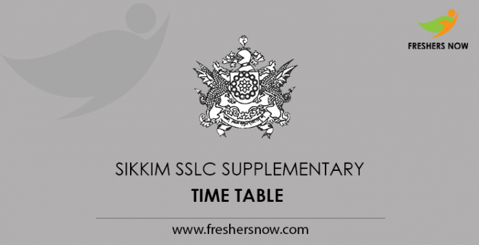 Sikkim SSLC Supplementary Time Table