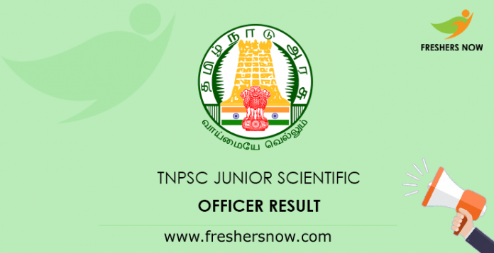 TNPSC Junior Scientific Officer Result 2019