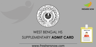 West Bengal HS Supplementary Admit Card 2019