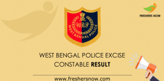 West Bengal Police Excise Constable Result