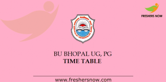 BU Bhopal Time Table 2019