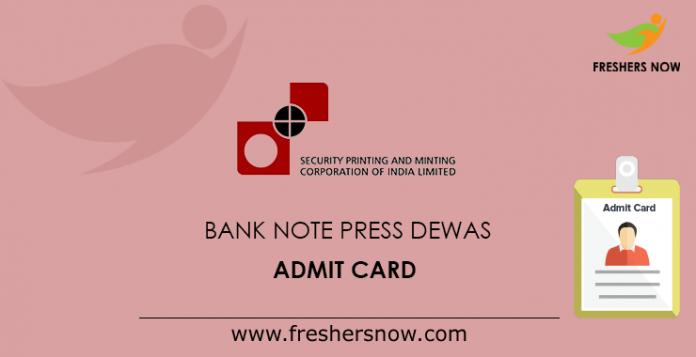 Bank Note Press Dewas Admit Card
