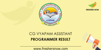 CG Vyapam Assistant Programmer Result