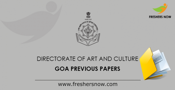 Directorate of Art and Culture Goa Previous Papers