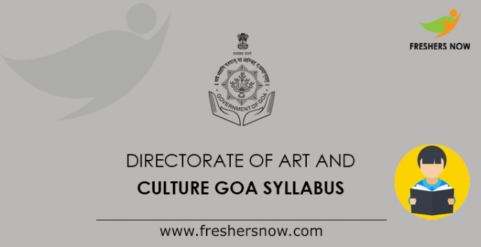 Directorate of Art and Culture Goa Syllabus