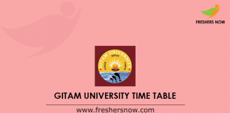 GITAM University Time Table