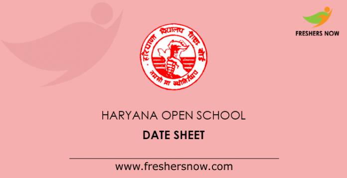 Haryana Open School Date Sheet