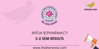 JNTUA B.Pharmacy 3-2 Sem Results