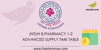 JNTUH B.Pharmacy 1-2 Advanced Supply Time Table 2019