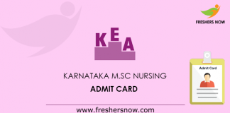 Karnataka M.SC Nursing Admit Card