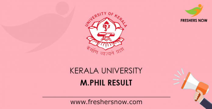 Kerala University M.Phil Result