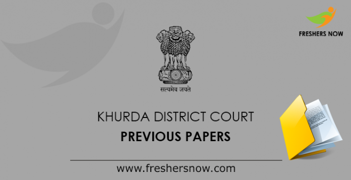 Khurda District Court Previous Papers