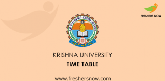Krishna University Time Table