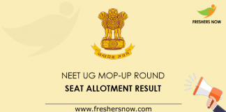 NEET UG Mop-Up Round Seat Allotment Result