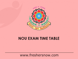 NOU Exam Time Table