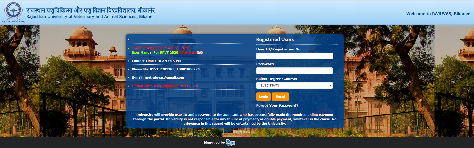 RPVT Counselling Registration Page