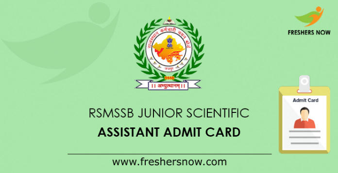 RSMSSB Junior Scientific Assistant Admit Card