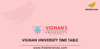 Vignan University Time Table