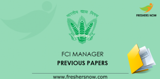 FCI Manager Previous Papers