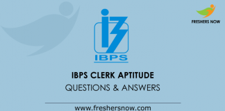 IBPS Clerk Aptitude Questions and Answers