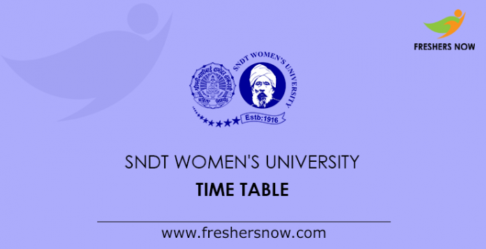 SNDT Women's University Time Table