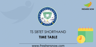 TS SBTET ShortHand Time Table