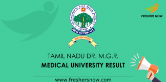 Tamil Nadu Dr. M.G.R. Medical University Result