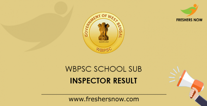 WBPSC School Sub Inspector Result
