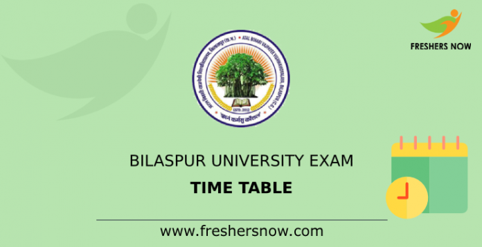 Bilaspur University Exam Time Table
