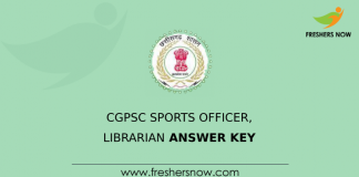 CGPSC Sports Officer, Librarian Answer Key