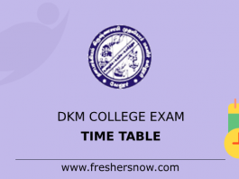 DKM College Exam Time Table