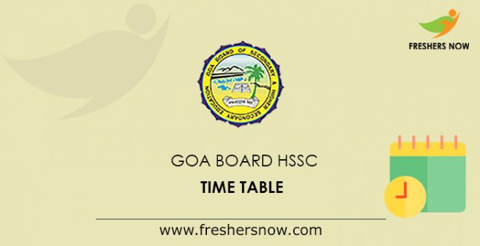 Goa Board HSSC Time Table