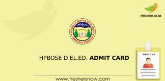 HPBOSE D.El.Ed Admit Card