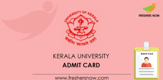 Kerala University Admit Card