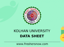 Kolhan University Data Sheet