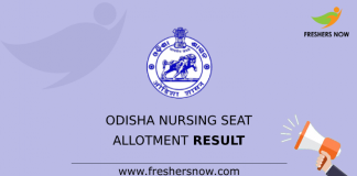 Odisha Nursing Seat Allotment Result
