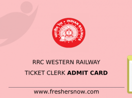 RRC Western Railway Ticket Clerk Admit Card