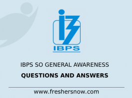 IBPS SO General Awareness Questions and Answers