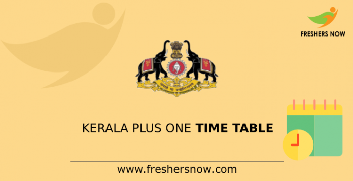 Kerala Plus One Time Table