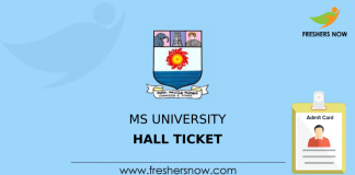 MS University Hall Ticket