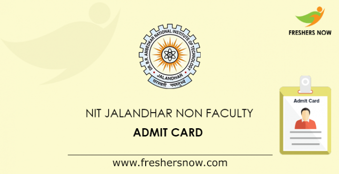 NIT Jalandhar Non Faculty Admit Card