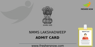 NMMS Lakshadweep Admit Card