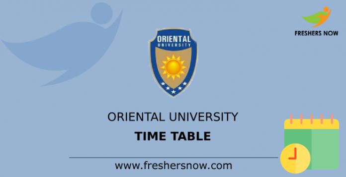 Oriental University Time Table