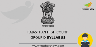 Rajasthan High Court Group D Syllabus