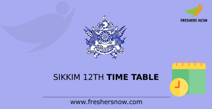 Sikkim 12th Time Table